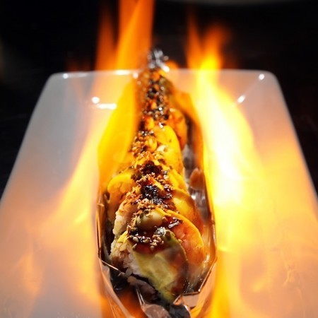flaming crazy california roll
