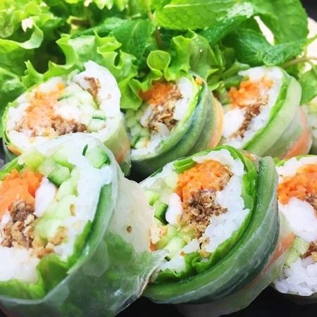 spring roll & sashimi